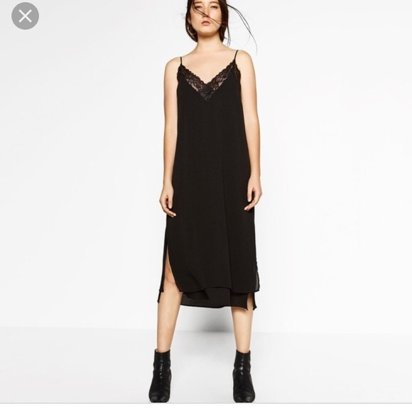wholesale online large discount sneakers for cheap Zara Dresses | Long Slip Dress With Lace | Poshmark